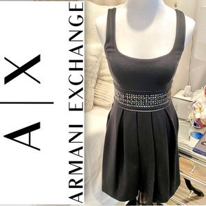 A|X Armani Exchange Pleated Dress w/ Studded Waist